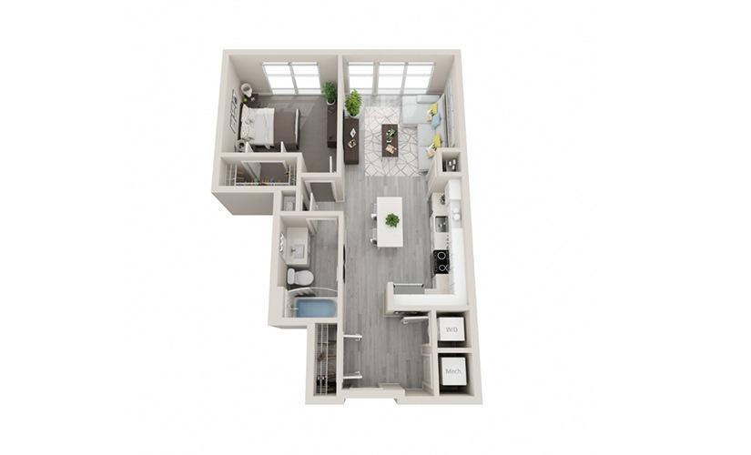 A04 - 1 Bedroom, 1 Bath 678 Sq Ft