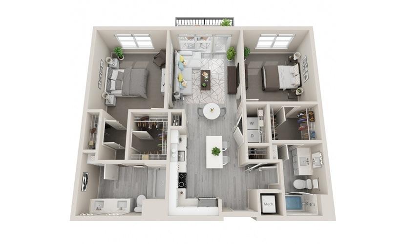 D01 - 2 Bedrooms, 2 Baths 1077 Sq Ft