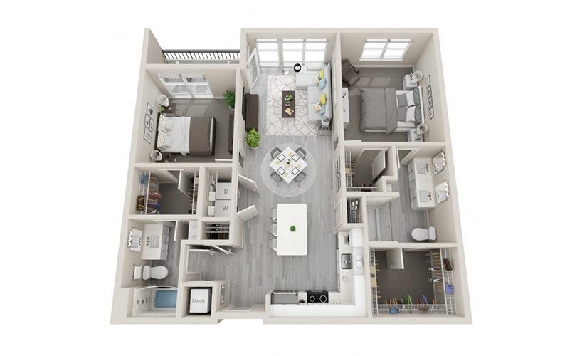 D08 - 2 Bedrooms, 2 Baths 1162 Sq Ft
