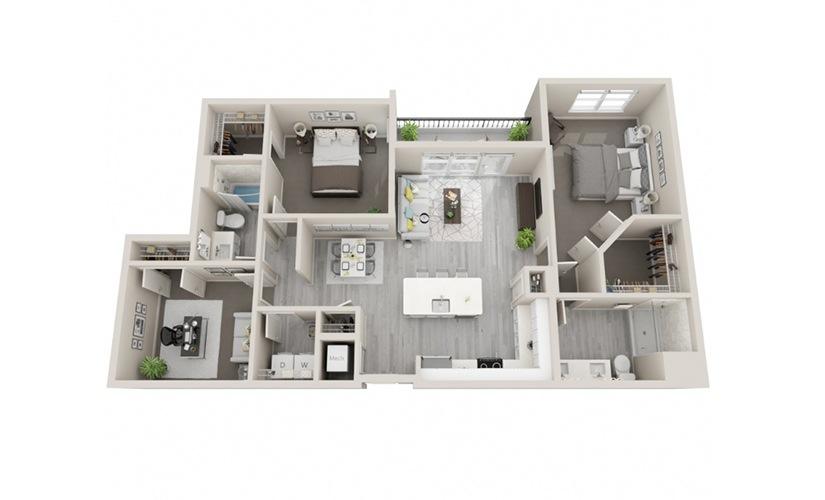 E1 - 2 Bedrooms + Den, 2 Baths 1330 Sq Ft