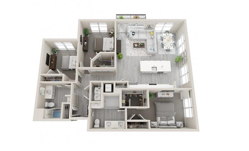 F3 - 3 Bedrooms, 2 Baths 1484 Sq Ft