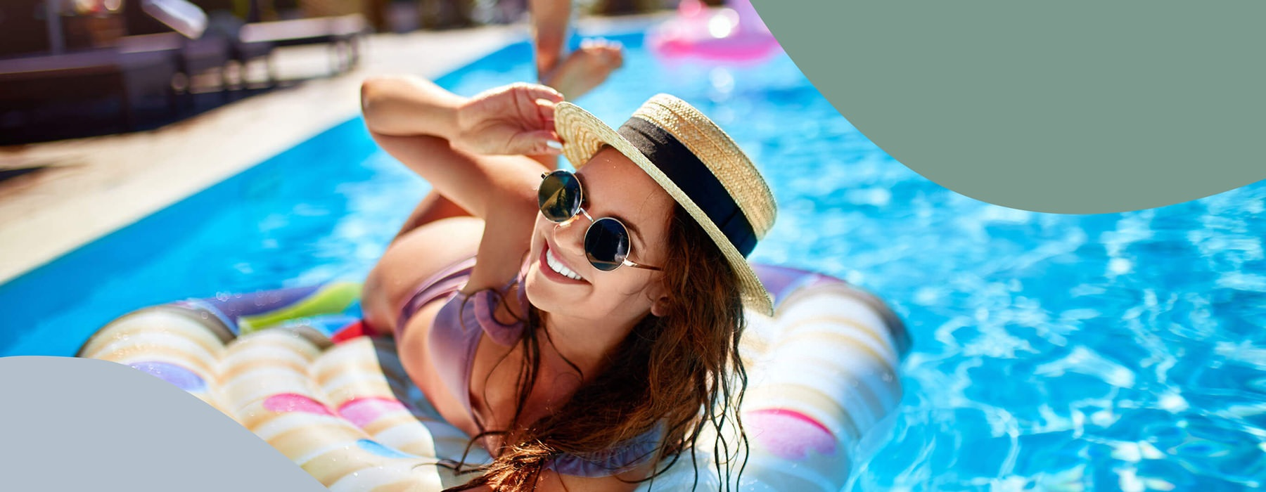 Young Woman On Pool Floatie In Pool